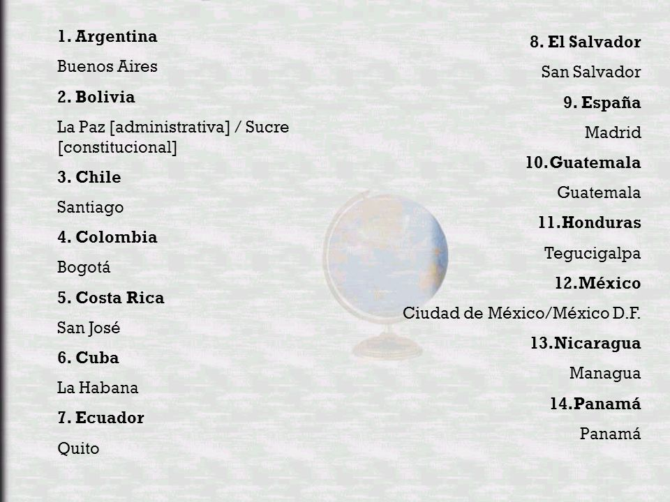 1. Argentina Buenos Aires. 2. Bolivia. La Paz [administrativa] / Sucre [constitucional] 3. Chile.